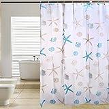 Accessotech Cortinas de baño de lujo con ganchos extra largos de 180 x 180 cm (concha de mar)