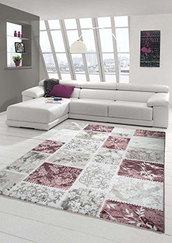 Designer Teppich Moderner Teppich Wollteppich Patchwork Wohnzimmerteppich Wollteppich Ornament Pink...