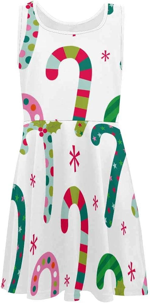 INTERESTPRINT Girls Summer Dress Sleeveless Crew Neck Casual Dress for 4-13 Years Fun Christmas Candy Pattern 6T