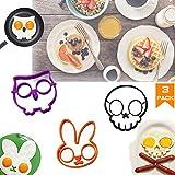 Halloween Horror Skull Fried Egg Mold, Breakfast Omelette Mold, Nonstick Silicone Egg Pancake Ring Set, Kitchen DIY Creative Fried Egg Mold 3pack