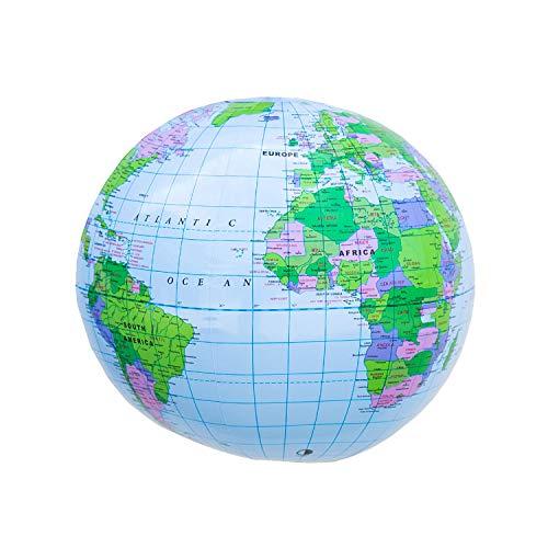 Oblique Unique® Erde Globus Weltkugel aufblasbar Topografischer Wasserball Strandball Beachball Wasserspielzeug Badespielzeug für Pool Strand 35 cm Sommer Badespaß Kinderzimmer Deko