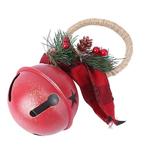 EXCEART 1 Pieza de Gancho de Puerta de Campanas de Navidad Campanas de Metal Vintage con Adorno de Cono de Pino Pomo de Puerta Adornos Colgantes para Fiesta de Navidad Vacaciones