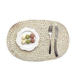 TankMR Set de table en rotin tressé tressé antidérapant et résistant à la chaleur pour table de salle à manger ovale 30…
