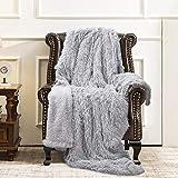 ST. BRIDGE Faux Fur Throw Blanket, Super Soft Lightweight Shaggy Fuzzy Blanket Warm Cozy Plush Fluffy Decorative Blanket for Couch,Bed, Chair(50'x60', Light Grey)