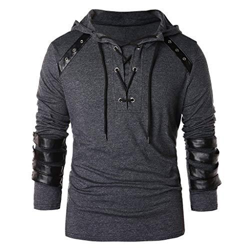 Xmiral Herren Kapuzenoberteile Kordelzug Vintage Leder Patchwork Langarm Sweatshirt Tops Pullover Schnürung Kapuzenpullover Sweatshirts(t Grau,L)