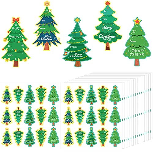 480 Pegatinas de Árbol de Navidad, Etiqueta de Nombre de Navidad to from, Pegatina en Forma de Árbol de Navidad,...