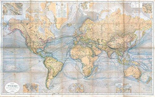 Historische WELTKARTE 1867 - CHART OF THE WORLD: Auswandererkarte – Segelschiff- und Dampfschifffahrtrouten – Meerestiefen –Strömungen