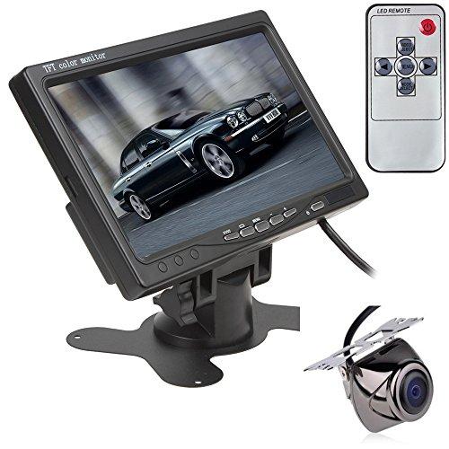 Bw 17,8 cm TFT LCD rétroviseur avec appui-tête moniteur PAL de voiture moniteur CCTV moniteur à écran couleur pour voiture Caméra de recul haute résolution de voiture vue arrière inversée Caméra de recul