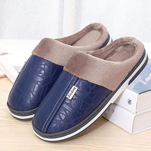 XZDNYDHGX Espuma Cómodo Caliente Zapatos de Algodón,Invierno Hombre Y Zapatillas Felpa Impermeable, Zapatillas De Casa para El Interior Zapatos De Piso Azul Marino EU 35-36