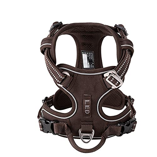 Arnés para perros Pet Reflective Nylon Dog Harness No Pull Adjustable Medium Large Naughty Dog Vest Safety Vehicular Lead Walking Runn Arnés para gatos (Color : Brown, Size : XS)