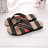 Zapatillas Casa Chanclas Sandalias Flip Flops Men Slippers Striped Flat Casaul Shoes Men Sandals Beach Slippers Black Flip Flops-Black_43