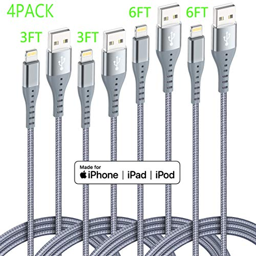 Lightning Cable iPhone Charger XnewCable 4Pack(6ft 6ft 3ft 3ft) Apple MFi Certified Nylon Braided Long Fast USB Cord Compatible for iPhone 11Pro MAX Xs XR X 8 7 6S 6 Plus SE 5S 5C (Light Gray)