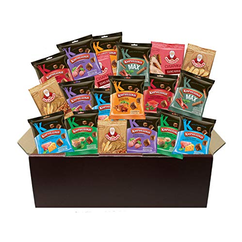 Russian-Box - Suhariki Brotchips Croutons Snack Variation Set - 20 Packungen (Mit russischer Geschenkverpackung)