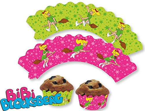 12 Cupcake Banderolen * BIBI BLOCKSBERG * für Muffins und Cupcakes // Hexe Party Kindergeburtstag Geburtstag Kinder Mottoparty
