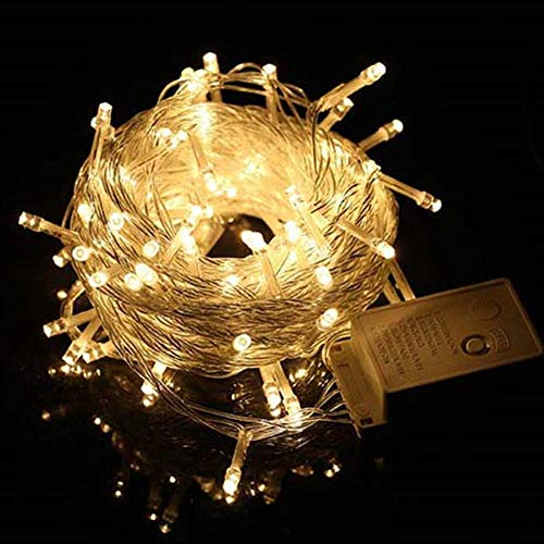 WARRT Arbol de Navidad Luces De Hadas Led Luces De Navidad Al Aire Libre Guirnalda Impermeable Fiesta De Boda Decoraciones Navideñas 20M 200 LED Blanco cálido