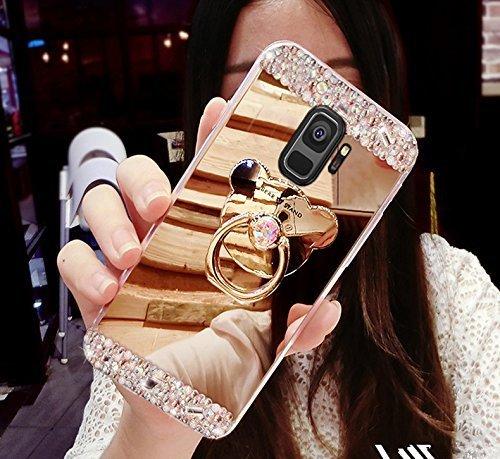 Miagon Coque pour Galaxy J8 2018,Luxe Cristal Paillette Glitter Strass Diamant Placage Miroir TPU Bumpe Couverture Étui Housse avec Ours Supporter pour Samsung Galaxy J8 2018