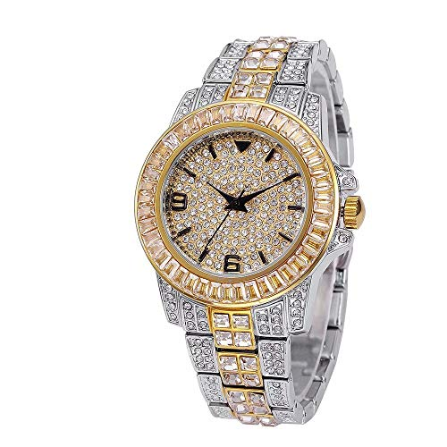 Bling-ed Out Herrenuhr, Runde Damenuhr Kristall Strass Diamant Uhren Edelstahl Armbanduhr Iced Out Uhr mit Japan Quarzwerk