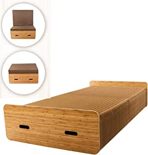 Adjustable Folding Bed, Folding Ottoman Sleeper Bed, with Removable Folding Mattress, Heavy Duty Portable Wood Frame, Free...