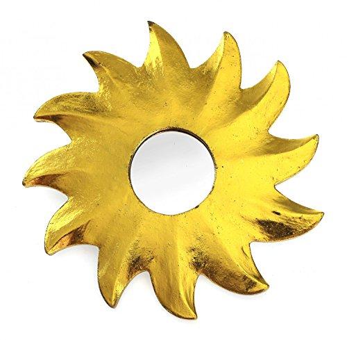 TEMPELWELT Feng Shui Spiegel Dekospiegel Sonne Ø 20 cm aus Holz Gold bemalt, Wanddeko Wandsymbol Symbol Solarplexus Chakra, Chi Energie lenken, Energiespiegel