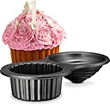 Gourmia GPA9395 Giant Cupcake Pan – Double Sided Two Half Design with Swirl Top Mold - Premium Steel Cake Maker with Non-Stick Coating – Dishwasher Safe