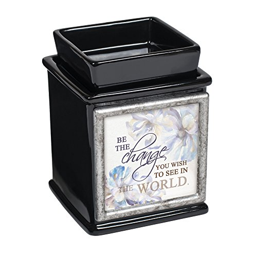 Elanze Designs Be The Change You Wish Ceramic Glossy Black Interchangeable Photo Frame Candle Wax Oil Warmer