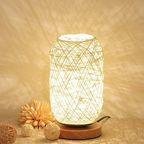 LED tafellamp bureaulamp kunst USB van hout rotan snoer parels tafellamp lamp slaapkamer ontvangst decoratie kantoor licht (Beige)