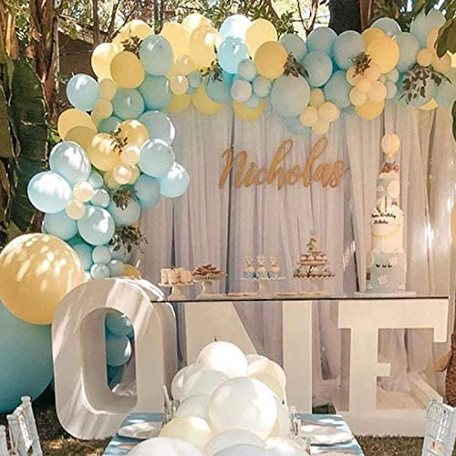 Soonlyn Blue Party Latex Balloons 130 Pcs Baby Blue and Yellow Balloons Garland Arch Kit for product image