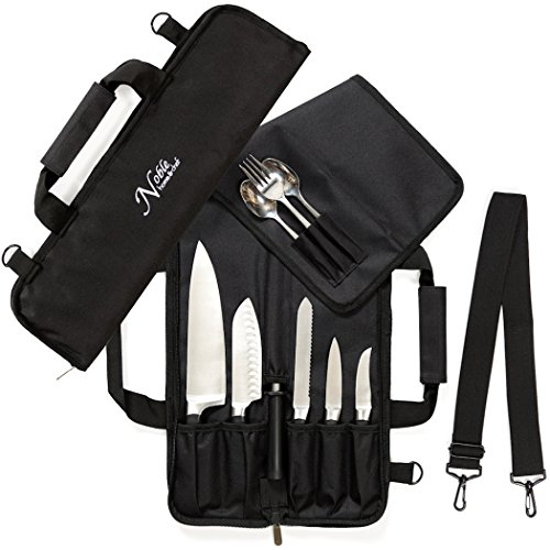 Chef Knife Roll Bag (6 slots) is Padded and Holds 5 Knives PLUS a Protected Pouch for Your Knife Steel