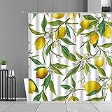 XCBN Cortinas de Cocina con patrón de Frutas, Estampado de piña y limón, Pantalla de decoración del hogar, Cortina de Ducha Impermeable A1 150x200cm