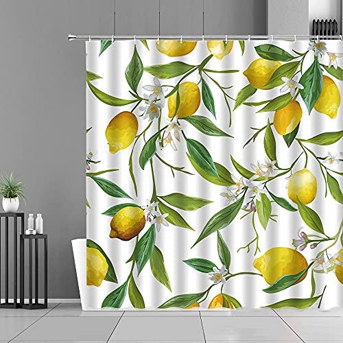 XCBN Obstmuster Küchenvorhänge Zitrone Ananas Druck Home Decoration Screen Wasserdichter Duschvorhang A1 150x200cm