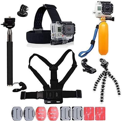 YHTSPORT - Kit de accesorios de cámara de acción 11 en 1 compatible con GoPro Hero 9 8 Max 7 6 5 4 Black GoPro 2018 Session Fusion Plata Blanco Insta360 DJI SJCAM Apman AKASO etc.