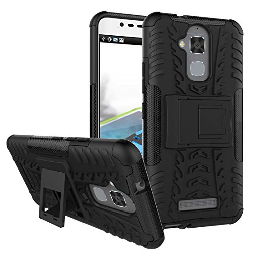 Spykart Rubber Delight Hard Hybrid Armour Bumper Kick Stand Back Case Cover for ASUS Zenfone 3 Max (Black)