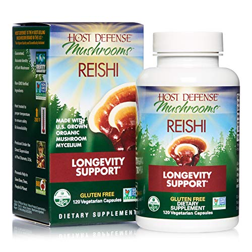 Host Defense, Reishi Capsules, Supports General Wellness and Vitality, Daily Mushroom Mycelium Supplement, USDA Organic, Gluten Free, 120 Vegetarian Capsules (60 Servings)