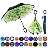 MRTLLOA Double Layer Inverted Umbrella with C-Shaped Handle, Anti-UV Waterproof Windproof Straight Umbrella for Car Rain Outdoor Use(Green Leaf)