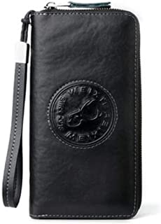 Retro Business Anti-Theft Brush Leather Wallet, Men's Hand Holding Ticket Holder Casual Clutch