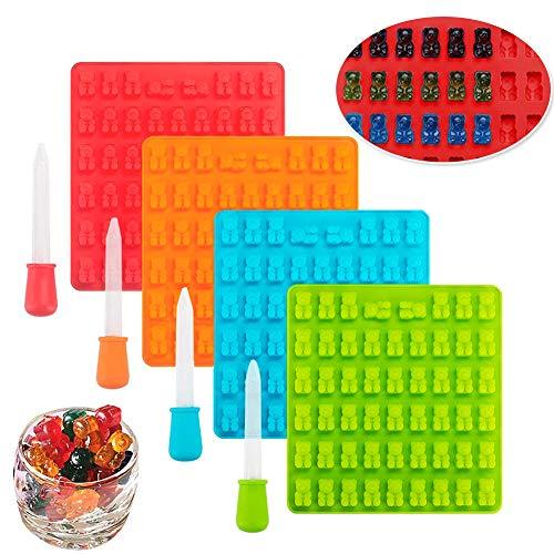Moldes de silicona para dulces, moldes para cubitos de hielo INTVN con 4 gotas para hacer velas, gelatina, galletas, chocolate, 4 paquetes (53 cavidades por bandeja)