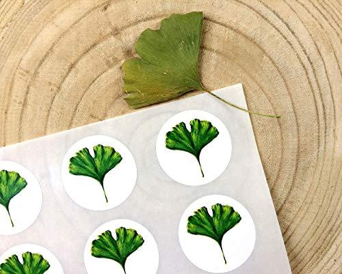 Ginkgo Sticker A4 Bogen, 15 Stk. ca.5 cm Durchmesser, Ginkgoblatt Aufkleber, selbstklebende runde Etiketten mit Ginkgomotiv, Geschenk Verpackung