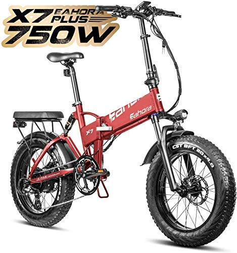 eAhora X7 Plus 750W Fat Tires Folding Electric Bike Full Suspension Hydraulic Brakes 48V Electric Bikes for Adults with Electric Lock, Power Regeneration System 8 Speed Gears, Red