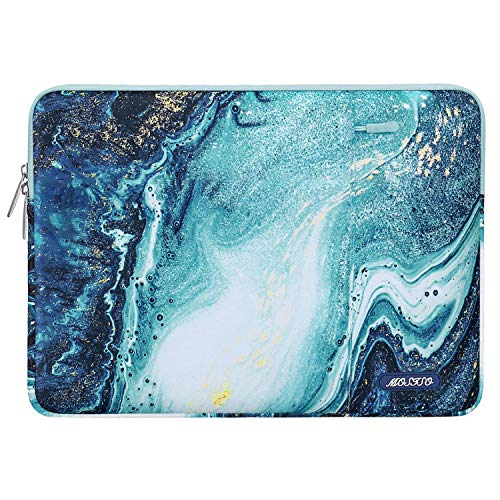 MOSISO Laptop Sleeve Case Compatible with 15 inch MacBook Pro Touch Bar A1990 A1707, ThinkPad X1 Yoga, 14 Dell HP Acer, 2019 Surface Laptop 3 15,Polyester Vertical Creative Wave Marble Bag with Pocket