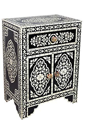 Mesita de noche de madera oriental dilhan negro y blanco, 60 cm de alto, estilo oriental vintage, pintada a mano, mesita de noche india también para cama con somier, muebles asiáticos de la India