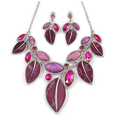 Avalaya Statement Purple/Magenta Glass, Crystal Leaf Necklace and Drop Earrings in Rhodium Plating - 40cm L/ 8cm Ext