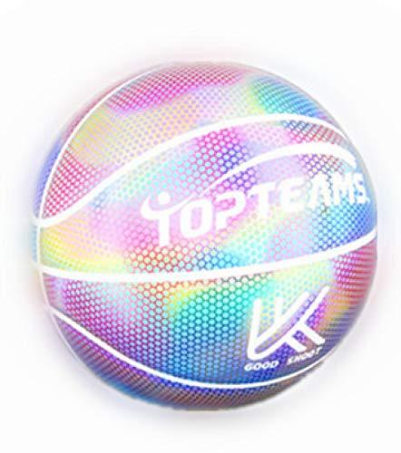HAIZEIWANG Flash holográfico reflectante Baloncesto-Baloncesto Reflectante No. 7 -Que brilla en la oscuridad y baila en la cancha - Interior Adulto Baloncesto Deportes Regalo de Cumpleaños, Niño, Niña
