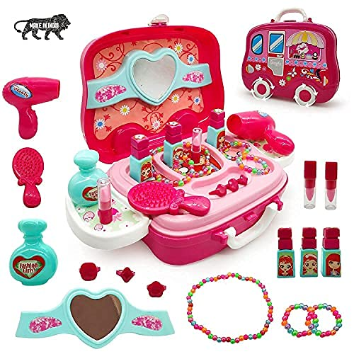 Techno Buzz Deal Children Beauty Makeup Kit Pretend Play Fashion Set Toy With Carry Case Suitcase Multi Color