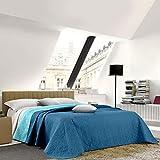 NuvolaNera Trapuntino copriletto bicolor trapuntato a caldo con colori brillanti – Primaverile Estivo – 2 Piazze Matrimoniale 250x250 cm Blu/Turchese