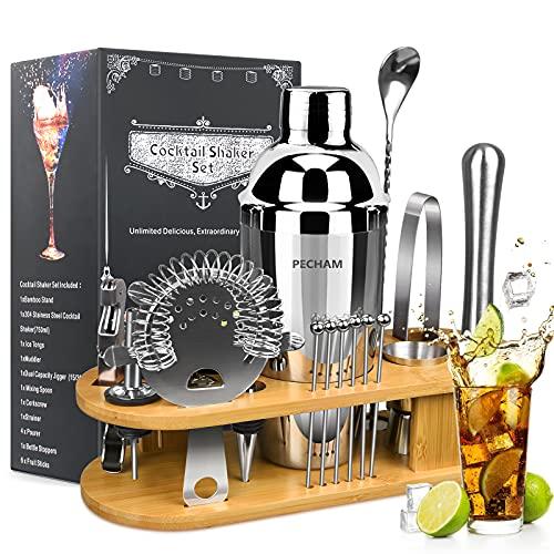 19-Piece Cocktail Making Set, PECHAM Cocktail Shaker Set 750ml Stainless Steel Bartender Kit Bar...