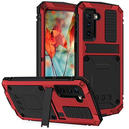 for Samsung Galaxy S21 Case, Aluminum Metal Gorilla Glass Waterproof Shockproof Military Heavy Duty Sturdy Protector Cover Hard Case for Samsung Galaxy S21 (Red)