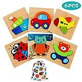 E-MANIS Puzzle di Legno per 1 Anni Bambini Giochi Set 2 3 4 5 Anno Bambino Giocattoli Montessori Educativi Gioco Bambina Pattern Blocchi Ragazzo Ragazza Regalo 6 Pezzi, Multicolore