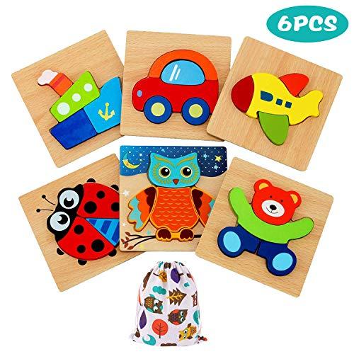 E-MANIS Kinder Holz Puzzle Spielzeug ab 1 Jahr 3D Holzpuzzles Kinderspielzeug 2 3 4 Jahre Holzspielzeug Montessori Lernspielzeug Weihnachten Geburtstag Geschenk Spiele Steckpuzzle 6 Stück, Mehrfarbig