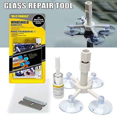 Juntful Windschutzscheiben-Reparatur-Set mit Saugnapf, Fenster, Glas, Rissreparatur für Auto