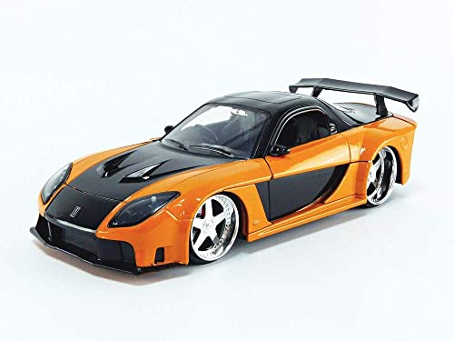 Han's Mazda RX-7 Orange and Black Fast & Furious Movie 1/24 Diecast Model Car by Jada 30732